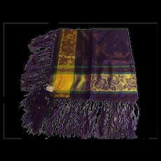1930's Germany Light Weight Silk Damask Floral Plaid Fringed Scarf..Sample..Tag..NOS