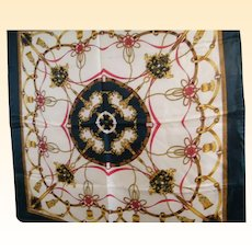 "Hermes Style Quality Scarf With Tassels & Belts..Polyester Twill..35"" Square..NOS"