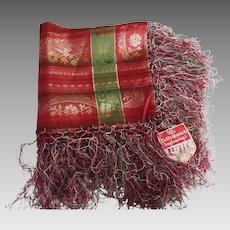 1930's German Light Weight Silk Damask Scarf In Wine & Green Jacquard Design..Hand Knotted Fringe..NOS
