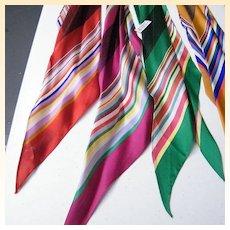 ECHO Scarf Collection Of Bright Stripes..Silk Satin.. Rectangular..