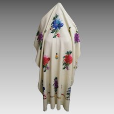 Oblong Wool Shawl With Hand Silk Embroidery..Self Fringe..1950's
