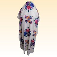 Off White Wool Oblong Shawl With Silk Crewel Embroidery.Fringe..Imported