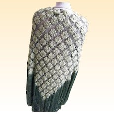 Designer Large Over  Sized Wool Daisy Hand Loomed Shawl Long Fringe Seafoam Green 60 Inch Mary Ann Restivo