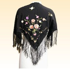 Piano Scarf..Shawl..Black Silk With Floral Embroidery..Very, Very Vintage