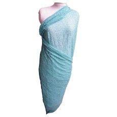 Indian Sari Dupatta Shawl..Light Aqua..Embroidered & Sequins..Crinkle Silk..Mary Ann Restivo
