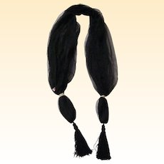 Scarf / Shawl..Black Fine Net With Tassel..Sample..Mary Ann Restivo