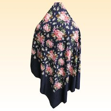 "Yves Saint Laurant..YSL..Silk Shawl..Dark Navy Ground..Muted Rose & Lavender Cabbage Flowers..52"" Square"