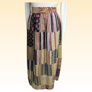 Hand Loomed Tie Silk Patchwork Maxi Skirt In Color Coordinated Patterns..By Nantucket Looms..1960's-70's..Excellent Condition!