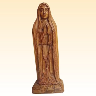 Hand Carved  Wood Statue of the  Virgin Mary Holding a Rosary