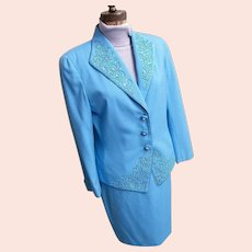 Formal 3 Piece Dress Suit..Aqua..Passementry & Rhinestone Trim..Nolan Miller..Satin Shell..Size 10..Hong Kong