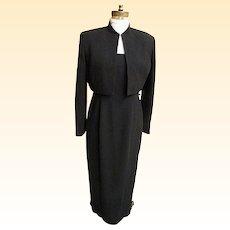 Stylized Tuxedo Dress / Suit..Jones NY..Black..Maxi..Bolaro Jacket..Size 8..Hong Kong..NWT