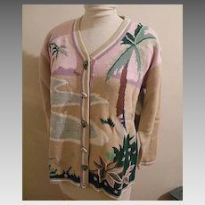 Tropical Palm Tree Cardigan Sweater By Storybook Knits...Limited Edition..Cotton / Ramie...Multi-Pastels..Size Large / Extra Large...New Condition...1980's