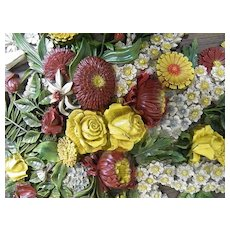 Rare & Beautiful Syroco Over-Sized Floral Bouquet Wall Hanging..Excellent Vintage Condition