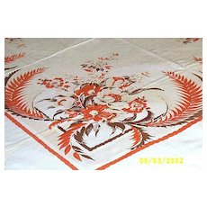 Printed Orange And Very Pale Beige And Brown Floral Sprays With Feathers