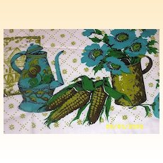 Printorama  Hand Printed Coffee Time Pattern Turquoise And Green Cotton Print Tablecloth