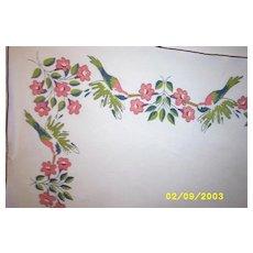 Vintage Cotton Printed Hummingbird Tablecloth