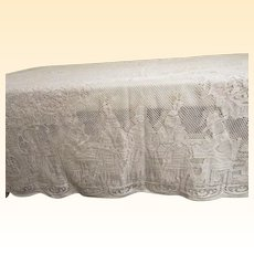 """Vintage Thanksgiving Quaker Lace Tablecloth...Pilgrims & Turkey...Size 73"""" X 88"""""""