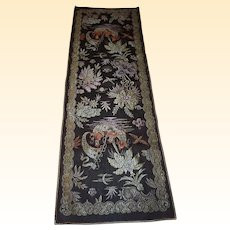 Very Vintage Table / Buffet Runner...Woven Jacquard Chinese Motif...Velvet Back