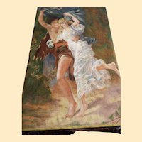 Tapestry Wall Panel Painting On Heavy Ribbed Cotton...Renassance Couple