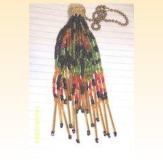 Vintage Italian Glass Beaded Tassel On Gold Chain [6]