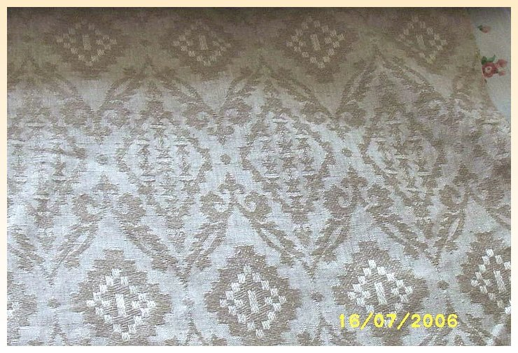 Vintage Quality Linen Upholstery Fabric Woven Jacquard Natural
