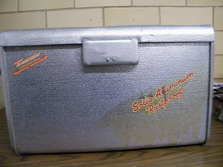 1950's THERMASTER Poloron Cooler  Hammered Aluminum  Good Used Condition