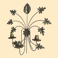 """Tole Wall Candelabra..Weathered Brass Metal Color...19"""" Tall"""