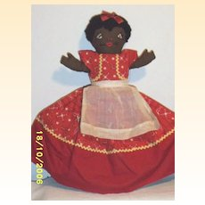 Vintage..Topsy Turvy Rag Doll..Black With Red Bandanna Print..White With Piglet Print..Excellent Vintage Condition..Hand Made