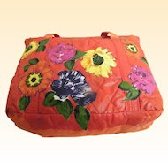 Red Hand Painted Nylon Quilted Tote Bag With Hand Painted Appliqued Flowers