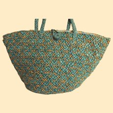 Large Over-Sized Beach Tote Bag..Cotton Lined..4 Side Pockets..Turquoise & Beige Raffia Straw..NOS