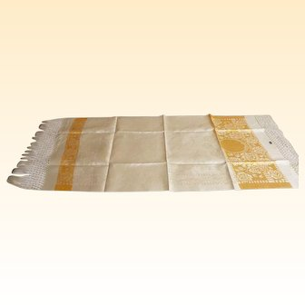 "European Show Towels..1920's..Beige With Gold Damask Design..Never Used...NOS...4 Towels Available..58"" Long...20"" Wide"