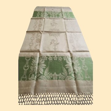"""European Show Towels...NOS....Beige Linen...Green Floral Jacquard...9"""" of Hand Tied Fringe..Over-All 58"""" Long x 20"""" Wide..4 Available"""