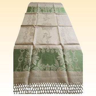 "European Show Towels...NOS....Beige Linen...Green Floral Jacquard...9"" of Hand Tied Fringe..Over-All 58"" Long x 20"" Wide..4 Available"