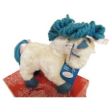 Musical Gund Plush Stuffed Toy Pony...New With Tags & Original Macy's Christmas Box.....1940's.. .White With Turquoise Wool Yarn Mane & Tail & Felt Hoofs & Lashes...USA