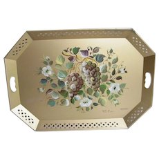 """Extra Large Tole Tray ...NASHCO.. Gold Ground With Large Hand-Painted Grape Design..Signed Fred A..28"""" x 20"""""""