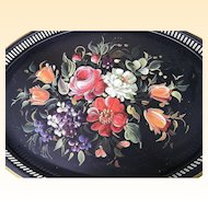"Tole Tray..Multi Floral..With Violets..Pierced ..22"" x 16""..Nashco Products"