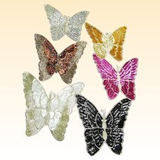"""BUTTERFLY..Vintage Designer Quality Extra Large Beaded Applique..8"""" X 7""""..New Condition..9 pieces Available"""