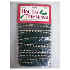 "Holiday Trimmings..Metal Beaded Garland Chain on Card..NIB..72"" - 3mm"