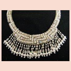 Applique Trim..Neckline..Faux Pearl..Clear Glass Beads & AB Rhinestone & Beads..Quality..NOS..Hong Kong