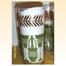 Avocado Green Tumblers Stemware And Wine Bottle With Gold Feather Border...Set Of 6