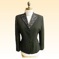 Ladies Stylized Tuxedo Semi- Fitted Jacket..Beaded Collar..Crepe..Size 8..1980's..Excellent Condition