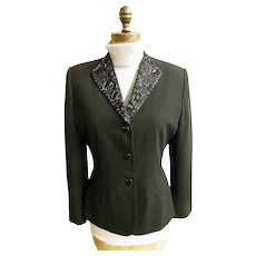 Ladies Black Stylized Tuxedo Semi- Fitted Jacket..Beaded Collar..Crepe..Size 8..1980's..Excellent Condition