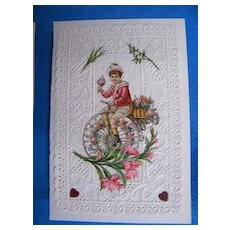 Victorian Valentine..BOY ON BIKE..Lacy..Pink Roses & Lilies..Embossed..Die Cut..Never Used..Mint