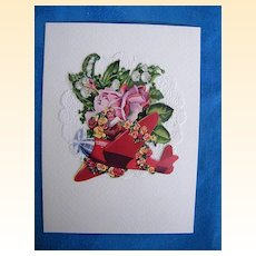 Valentine Card..BOY IN RED PLANE..Vintage Paper Collage.Mint.