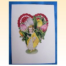 Valentine Collage..Vintage Scraps..Girl In Yellow Victorian Dress Reading Book..Red Embossed Foil Heart..Mint