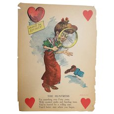 """Antique Valentine..Early 1900's..Humorous..The Huntress..14"""" X 10"""".."""