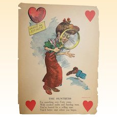 "Antique Valentine..Early 1900's..Humorous..The Huntress..14"" X 10"".."