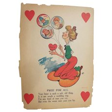 """Valentine Humorous / Vinegar / Old Maid..Free For All..Early 1900's..14"""" X 10"""""""