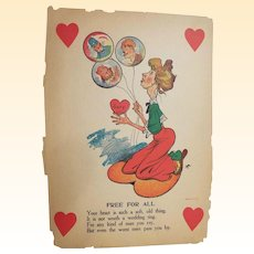 "Valentine Humorous / Vinegar / Old Maid..Free For All..Early 1900's..14"" X 10"""