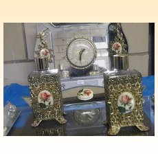 Mid-Century Rose Cameo  Vanity Set...Electric Clock...Picture Frame Or Tray..2 Filigree Perfume Bottles